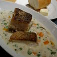 Bistro Vesetable Marketの白身魚のポアレ アサリと角野菜のチャウダースープ仕立て サツマイモのロースト添え