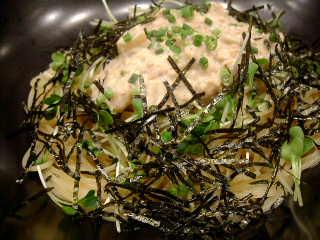 すぱじろうの納豆、たくわん、マヨネーズのすぱ