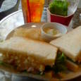 cafe masumiyaのエビとタマゴサラダのサンドイッチ+ナスとチンゲンサイ+セットドリンク