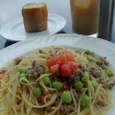 soho's表参道のサルシッツォと枝豆のアーリオオーリオスパゲッティ