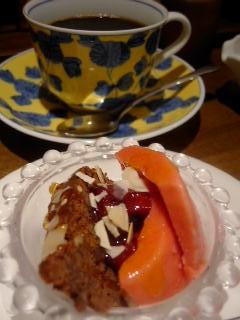 cafe du bleu蒼のセットのデザートとコーヒー