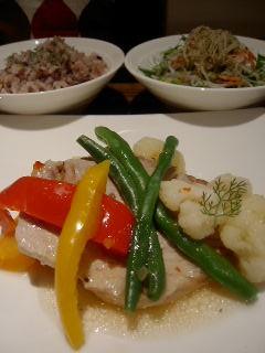 cafe du bleu蒼の温野菜とマグロ ビネガー風味
