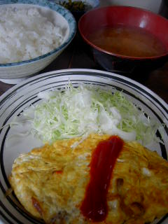 佐久良屋のオムレツ定食