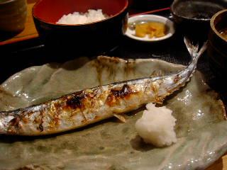 銀座ひかりのサンマの塩焼き定食