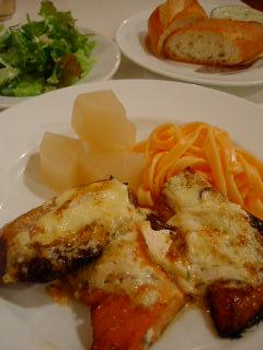 RUCOLAのブリと秋鮭の和風きの子マヨネーズ焼き